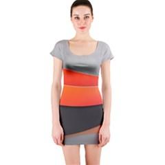 Line Shape Light  Short Sleeve Bodycon Dress