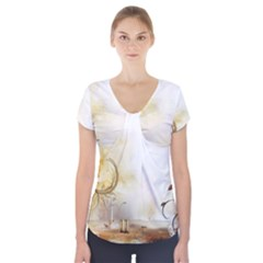 Patterns Nature Style  Short Sleeve Front Detail Top