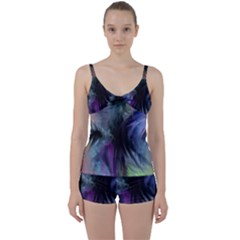 Brush Paint Light  Tie Front Two Piece Tankini