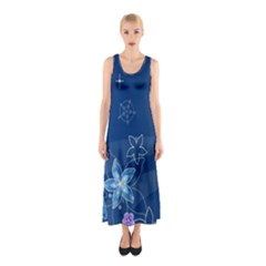 Abstraction Pattern Color  Sleeveless Maxi Dress