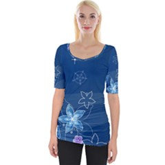 Abstraction Pattern Color  Wide Neckline Tee
