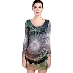 Circle Figures Background  Long Sleeve Bodycon Dress