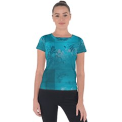 Volume Pattern Abstract Short Sleeve Sports Top