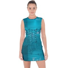 Volume Pattern Abstract Lace Up Front Bodycon Dress