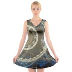 2299 Circles Light Gray 3840x2400 V Neck Sleeveless Skater Dress