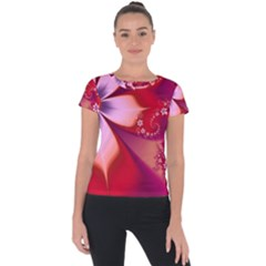 2480 Flowers Petals Red 3840x2400 Short Sleeve Sports Top