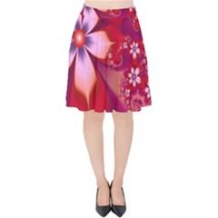 2480 Flowers Petals Red 3840x2400 Velvet High Waist Skirt