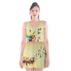 2398 Flight Sky Butterflies 3840x2400 Scoop Neck Skater Dress