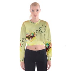 2398 Flight Sky Butterflies 3840x2400 Cropped Sweatshirt