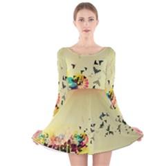 2398 Flight Sky Butterflies 3840x2400 Long Sleeve Velvet Skater Dress