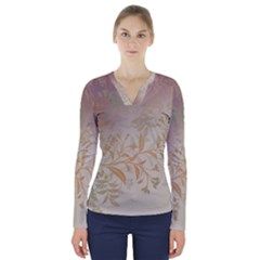 2349 Pattern Background Faded 3840x2400 V Neck Long Sleeve Top