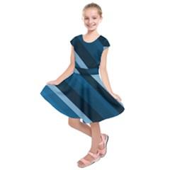 2435 Line Gray Blue 3840x2400 Kids  Short Sleeve Dress