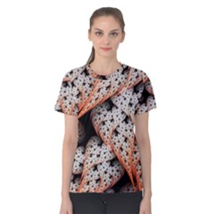 Dots Leaves Background  Women s Cotton Tee