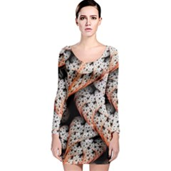Dots Leaves Background  Long Sleeve Bodycon Dress