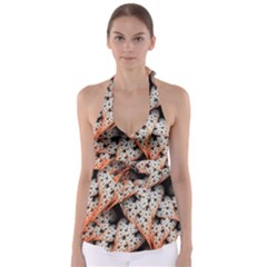 Dots Leaves Background  Babydoll Tankini Top