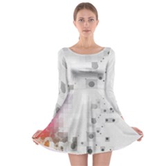 Squares Colorful Spots  Long Sleeve Skater Dress