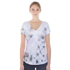 Squares Colorful Spots  Short Sleeve Front Detail Top