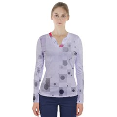 Squares Colorful Spots  V Neck Long Sleeve Top