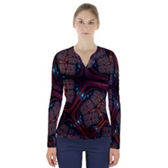 Surface Grid Lines  V Neck Long Sleeve Top