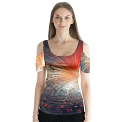 Plexus Background Colorful  Butterfly Sleeve Cutout Tee