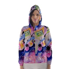 Patterns Colorful Drawing  Hooded Wind Breaker (women)
