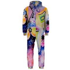 Patterns Colorful Drawing  Hooded Jumpsuit (men)