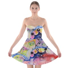 Patterns Colorful Drawing  Strapless Bra Top Dress