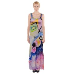 Patterns Colorful Drawing  Maxi Thigh Split Dress
