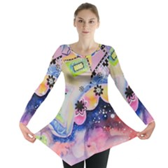 Patterns Colorful Drawing  Long Sleeve Tunic