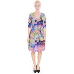 Patterns Colorful Drawing  Wrap Up Cocktail Dress