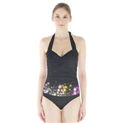 Spots Colorful Bright  Halter Swimsuit