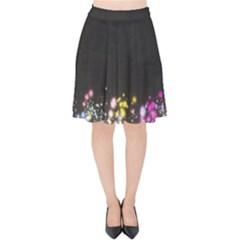 Spots Colorful Bright  Velvet High Waist Skirt