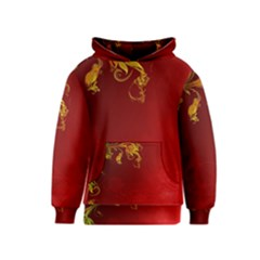 Fire Effect Background  Kids  Pullover Hoodie