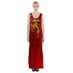 Fire Effect Background  Maxi Thigh Split Dress