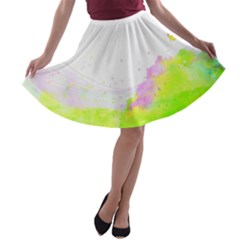 Paint Spray Field  A Line Skater Skirt