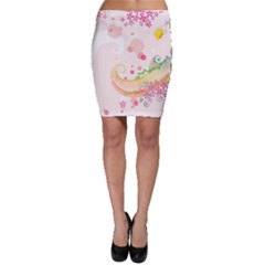 Curl Butterfly Flowers Bodycon Skirt
