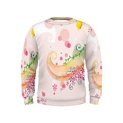Curl Butterfly Flowers Kids  Sweatshirt