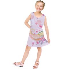 Curl Butterfly Flowers Kids  Tunic Dress