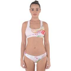 Curl Butterfly Flowers Cross Back Hipster Bikini Set