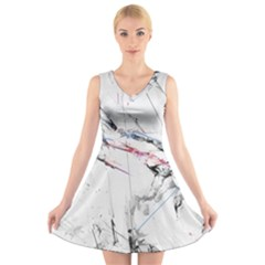Line Color Background  V Neck Sleeveless Skater Dress