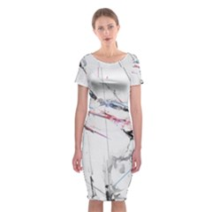 Line Color Background  Classic Short Sleeve Midi Dress