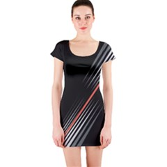 Line Broken Dark Background  Short Sleeve Bodycon Dress