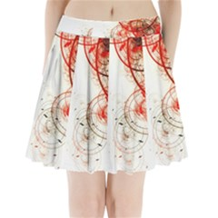 White Ovals Circles Pleated Mini Skirt