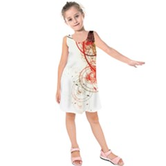 White Ovals Circles Kids  Sleeveless Dress