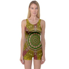 Mandala In Metal And Pearls One Piece Boyleg Swimsuit