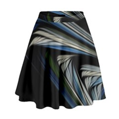 Stripes Waves Bright  High Waist Skirt