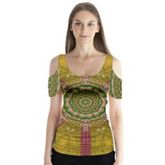 Mandala In Metal And Pearls Butterfly Sleeve Cutout Tee