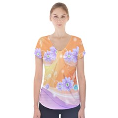 Colors Patterns Lines  Short Sleeve Front Detail Top