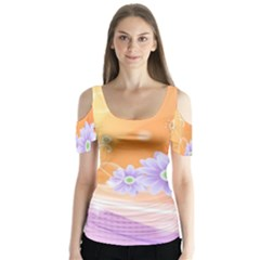 Colors Patterns Lines  Butterfly Sleeve Cutout Tee