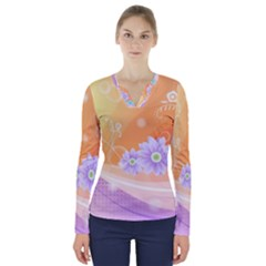 Colors Patterns Lines  V Neck Long Sleeve Top
